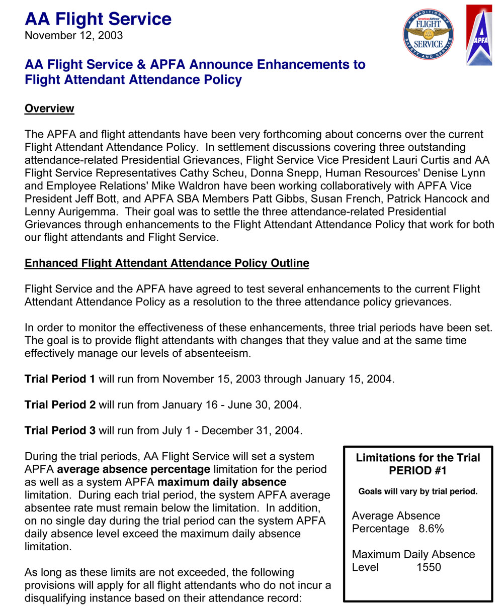 AA/APFA Enhance the Attendance Policy in the wake of the